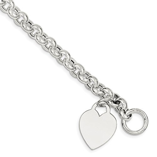 (925 Sterling Silver Heart Toggle Bracelet 7.5 Inch Charm W/charm/love Fine Jewelry Gifts For Women For Her )