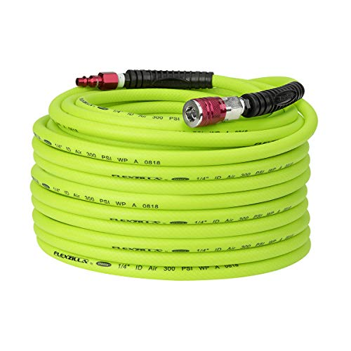 Flexzilla Pro Air Hose with ColorConnex Industrial Type D Coupler and Plug, 1/4 in. x 100 ft, Heavy Duty, Lightweight, Hybrid, ZillaGreen - HFZP14100YW2-D ()