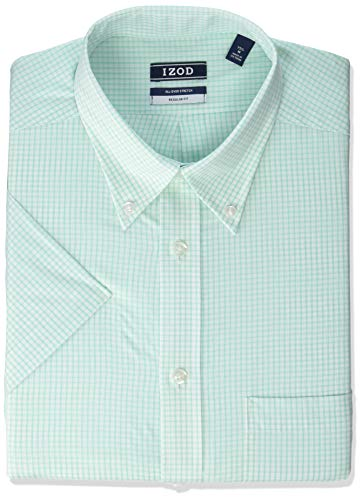 "IZOD Men's Regular Fit Short Sleeve Check Dress Shirt, Seafoam, 16"" Neck"