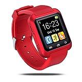 Reloj inteligente U8 con Bluetooth, pantalla táctil, manos libres, para deportes al aire libre, podómetro, cronómetro, para iOS y Android, Samsung Galaxy S4/S5/S6/S7 Edge, Note 3/4/5, HTC, Nexus, Sony, LG, Huawei, Rojo