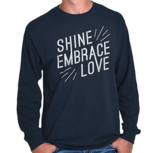 Shine Embrace Autism Awareness Autistic Long Sleeve T Shirt Navy