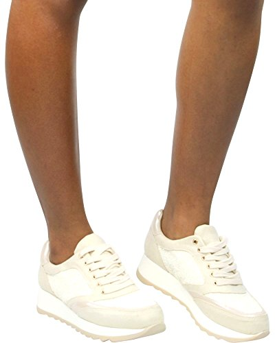 Glister Kvinna Cece-08 Glitter Mode Kil Sneakers Beige