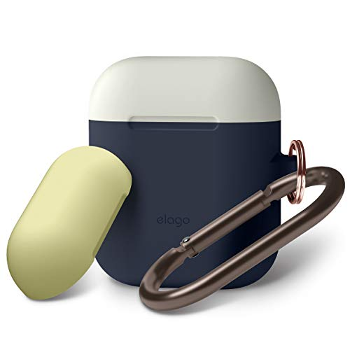 elago Duo Case with Keychain Designed for Apple AirPods Case, Protective Silicone AirPod Case Cover with 1Body + 2 Color Caps (Jean Indigo + Classic White, Creamy Yellow)