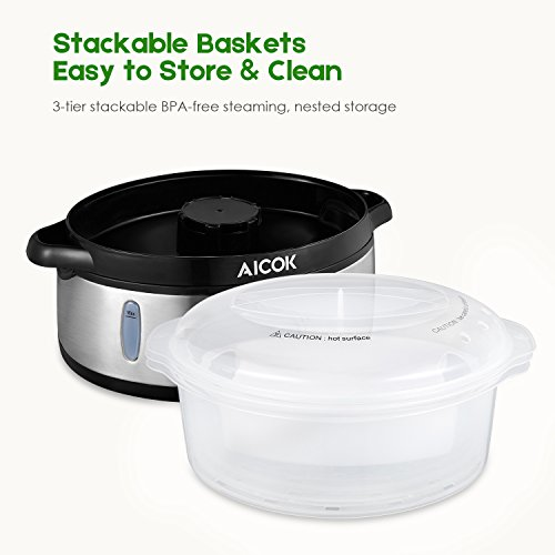 Food Steamer 9.5 Quart Vegetable Steamer, 800W Fast Heating Electric Steamer including 3 Tier Stackable Baskets with Rice bowl, Stainless Steel by AICOK (Image #5)