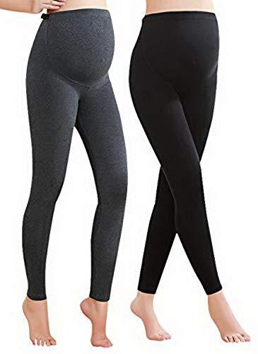 Vocni Women's Comfortable Maternity Cotton Leggings Full Ankle Length Pregnancy,Black+Grey, US XS-Tag L
