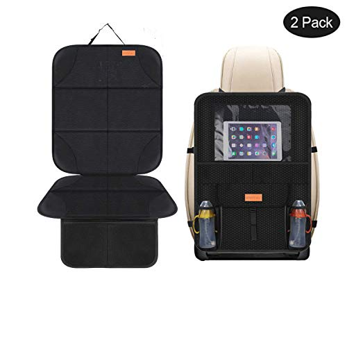 Smart elf Car Seat Protector Set with iPad and Tablet Holder Kick Mat Cover, Universal Stain Resistant Protective Baby Child Car Seat Protectors Rear Back Seat Organizer - 2Pack