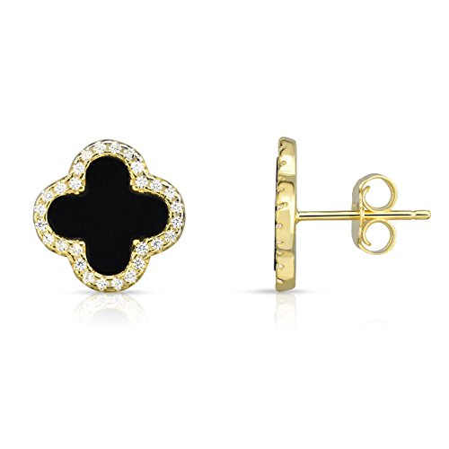 Sterling Silver Black Onyx And Cubic Zirconia Four Leaf Clover Post Earrings. (14K Yellow Gold Plated) ()