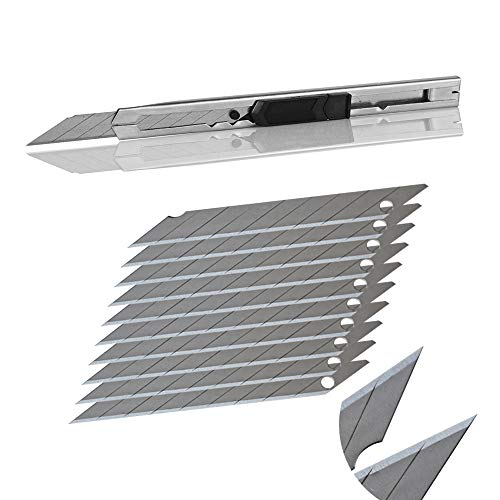 Ehdis Light Duty 9mm Snap Off 30 Degree Blades Slim Stainless Steel Sheath Lockable Box Cutters Graphic Knife with Blade Snapper Added 10 Blades, 1 Set - Sheath Steel Box