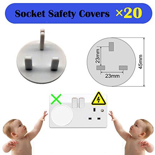 XinPei Baby Proofing Kit (48 Pcs) -20 Socket Covers + 10 X Cabinet Locks + 10 X Cupboard Locks + 4 X Rectangular Locks + 4 X Foam Door Stoppers