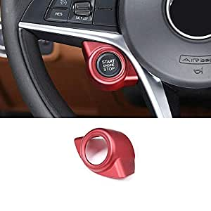 ABS Plastic Car Start Engine Stop Cover Trim Accessories Left Hand Driver for Alfa Romeo Giulia Stelvio 2017 2018 Red
