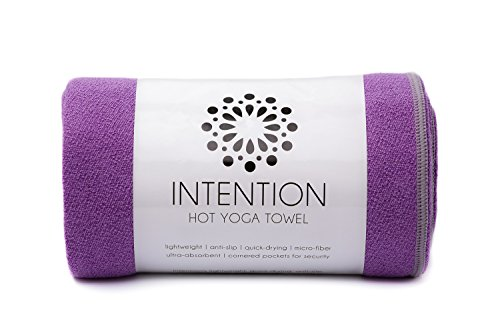 Intention Yoga Towel - Microfiber Hot Yoga Towel, Non Slip Corners, Protect Yoga Mat and Improve Grip - 26x68 - Purple