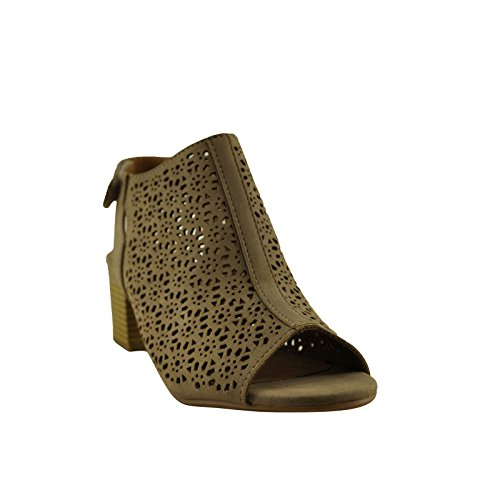 S Peep Ankle Women's Toe Light Out Bootie Taupe Cut City Elect Classified TfI88x