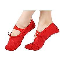 staychicfashion Girls Canvas Ballet Slippers Split-sole Dance Flat Gymnastics Yoga Shoes
