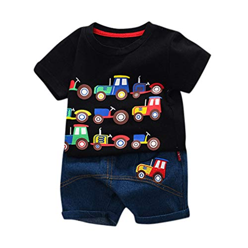 GOVOW Toddler Kids Baby 2019 Boys Cartoon Car Letter T Shirt Tops Denim Shorts Outfits Set]()
