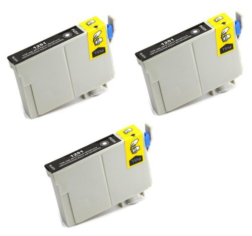 3 Pack Elite Supplies ® Remanufactured Inkjet Cartridge Replacement for #125 T125 T1251, Epson T125120 Black, Works Epson Stylus NX125, Stylus NX127, Stylus NX130, Stylus NX230, Stylus NX420, Stylus NX530, Stylus NX625, WorkForce 320, WorkForce 323, WorkForce 325, WorkForce 520 (3 Black)