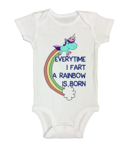 Cute Baby Girls Onesie  Every time I Fart a Rainbow Is Born - Little Royaltee Shirts