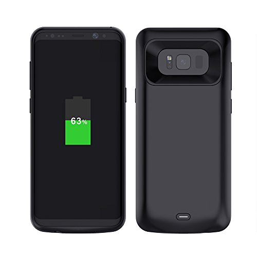 Samsung S8 Plus Battery Case, Yuqoka 5500mAh Portable Charger Case Power Bank Extended Battery Backup Rechargeable Charging Cover Shell for Samsung Galaxy S8 Plus – Black