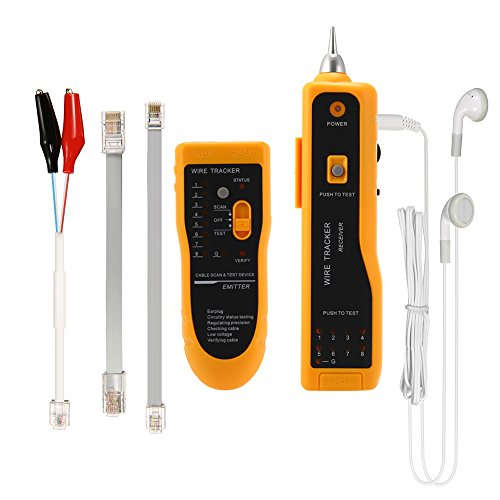 Cable tester, TopOne Wire Tracker Tester RJ45 RJ11 Network Cable Tester Telephone Phone Wire Finder Ethernet LAN Line Finder Cat5 Cat6 with 2 Network Wire Stripper, Headphone, Toolkit Upgraded Version