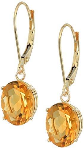 (14K Gold Oval Gemstone Dangle Leverback Earrings)