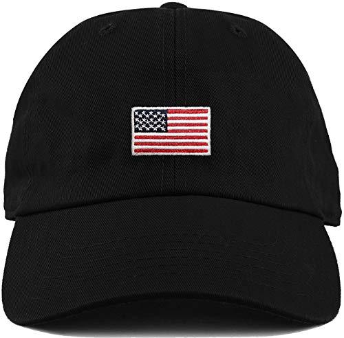H-214-AF06 Dad Hat unconstructed baseball cap: American Flag black