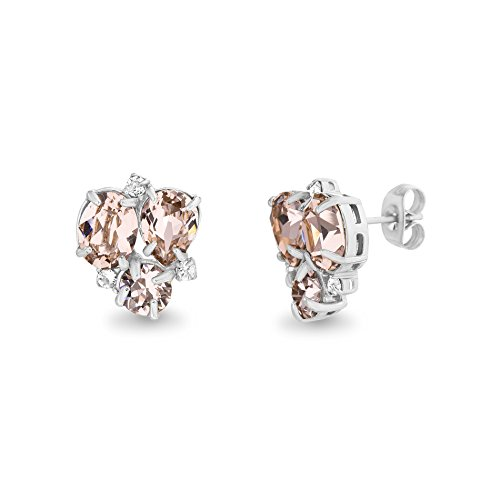 Devin Rose Cluster Post Earrings for Women made With Swarovski Crystals in Polished Stainless Steel (Color: Vintage Rose)