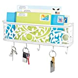 mDesign Wall Mount Metal Entryway Storage Organizer Mail Sorter Basket with 5 Hooks - Letter, Magazine, Coat, Leash and Key Holder for Entryway, Mudroom, Hallway, Kitchen, Office - Matte White