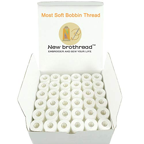 New brothread 144pcs White 60S/2(90WT) Prewound Bobbin Thread Plastic Size A SA156 for Embroidery and Sewing Machine Polyester Thread Sewing Thread