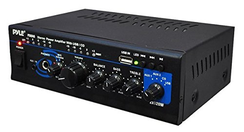 Pyle 2X120 Watt Home Audio Power Amplifier - Portable 2 Channel Surround Sound Stereo Receiver w/ USB IN - For Amplified Subwoofer Speaker, CD DVD, MP3, iPhone, Phone, Theater, PA System - PTAU45 (Channel Receiver 3)