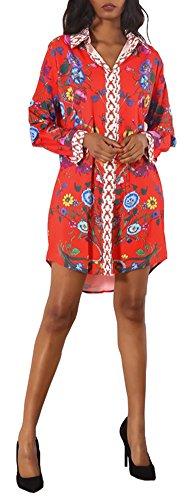 Speedle Womens Floral Print Button Down Collar Long Shirt Dress Blouse Mini Dress XL (Mini Boyfriend Button)
