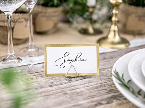 Wedding Table Decoration Triangles wYw 10 Pack Elegant Gold Place Card Holders
