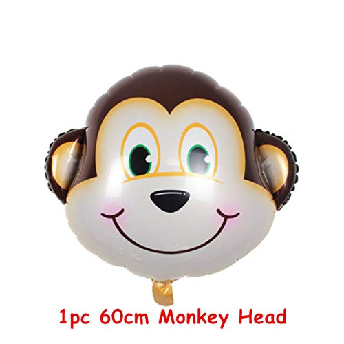 7Pcs Tiger Zebra Latex Balloon Set Theme Jungle Safari Animals Head Foil Balloons Birthday Party Decorations Baby Shower Gifts 1Pc 60Cm Monkey -
