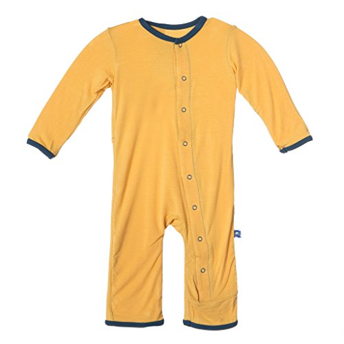 KicKee Pants Little Boys Applique Coverall- Fuzzy Bee Guitars, 3- 6 Months
