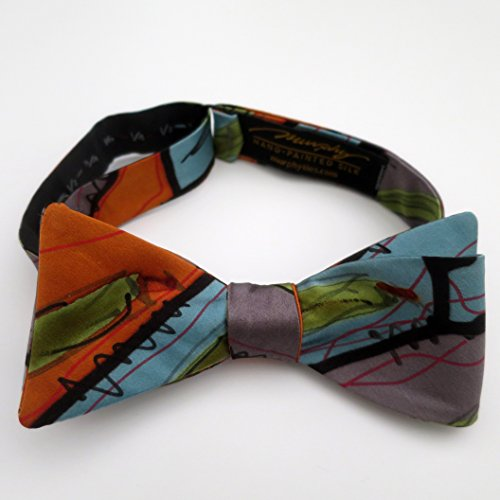 100% Silk Hand-Painted Hand-Made Men's Self Tie Bow Tie ''Alaska'' Art to Wear by Murphyties by Murphyties Inc.