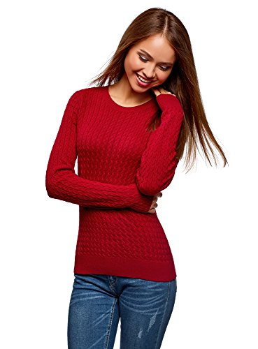 oodji Collection Women's Fine Cable Knit Pullover, Red, US 8 / EU 42 / L