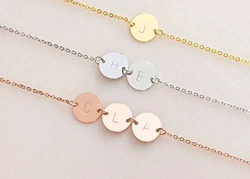 - A Personalized Hand Stamped Initial Disc Gold Silver Rose Gold Necklace - 2CN-G