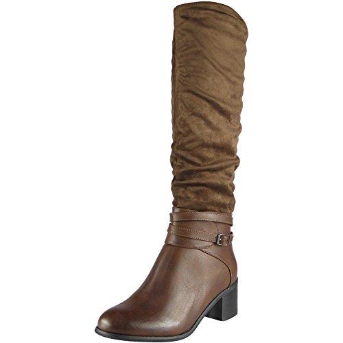 Damen Schnalle Gurt Lange Reißverschluss Mitten Hacke Knie Hoch Stiefel Größe 36-41 Braun
