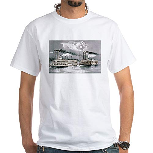 CafePress The Great Mississippi Steamboat Race 1870 White 100% Cotton T-Shirt, White