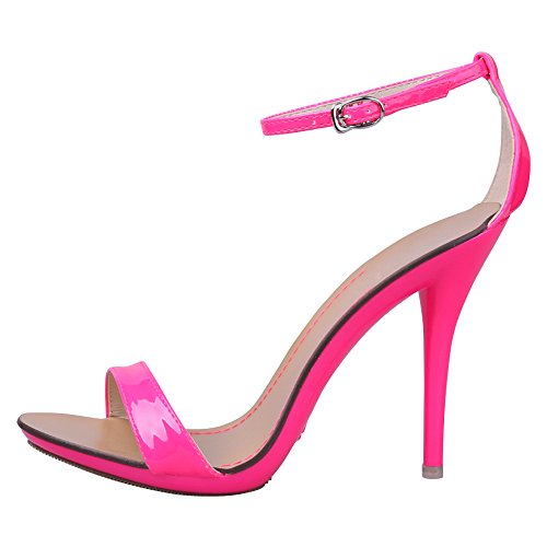Stiletto Women's High Pink Open Ankle Toe Classic Sandals Strap Heel Dancing FUqwn6aUE
