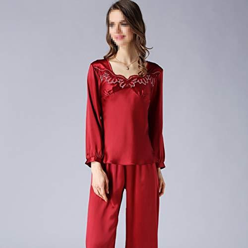 color Red Dormir Manga De Pj Ropa Shizheshop Red Mujer Size Conjunto Pijamas Xl Larga Suave Ivww6qpTSR