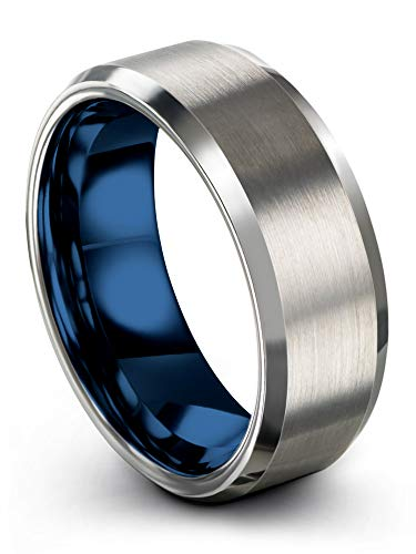 (Chroma Color Collection Tungsten Carbide Wedding Band Ring 8mm for Men Women Blue Interior with Grey Exterior Bevel Edge Brushed Polished Comfort Fit Anniversary Size 9.5)
