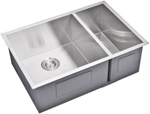 Water Creation SSSG-UD-2920B 29 X 20 Zero Radius 70 30 Double Bowl Stainless Steel Hand Made Undermount Kitchen Sink with Drain and Strainers