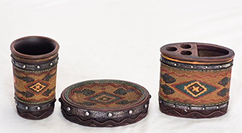 Rustic Western Country Themed Bathroom Set With Native American Prints - Toothbrush Holder, Tumbler And Soap Dish - Native American Bathroom Set R4L5622