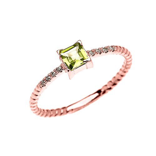 14k Rose Gold Diamond and Princess Cut Solitaire Peridot Dainty