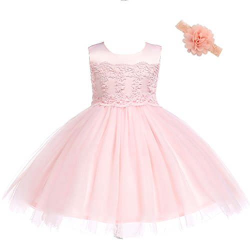 Moon Kitty Baby Girls Lace Birthday Party Dresses Special Occasion Flower Dress for Baby Girl -