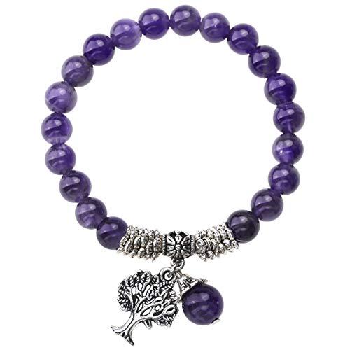 Jovivi 8MM Purple Amethyst Natural Gemstone Healing Point Tree of Life Lucky Charm Stretch Bracelet ()