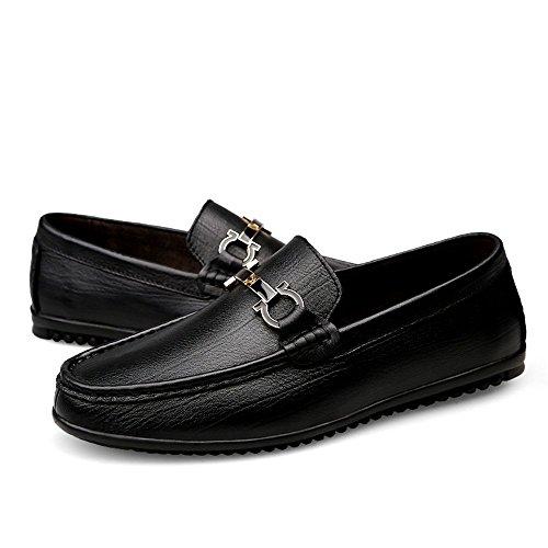 Shufang casual antiscivolo Mocassini Uomo stile uomo EU leggero leggero da Color 42 da barca in pelle Scarpe Nero Dimensione Mocassini shoes fodera Da 2018 con rwHzrp