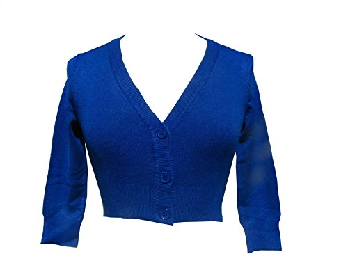 Admiral-Blue-Cropped-V-neck-Cardigan-Sweater-Pinup-retro-Rockabilly-50s