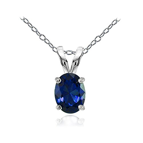 Ice Gems Sterling Silver Created Blue Sapphire 8x6mm Oval Solitaire Necklace