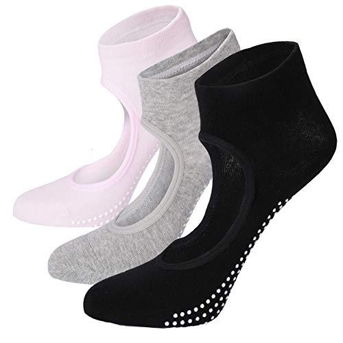 ELUTONG Ballet Barre Yoga Socks 2018 3 Pack Anti Skip Pilates Grips Socks for Women(Black+Grey+Pink)