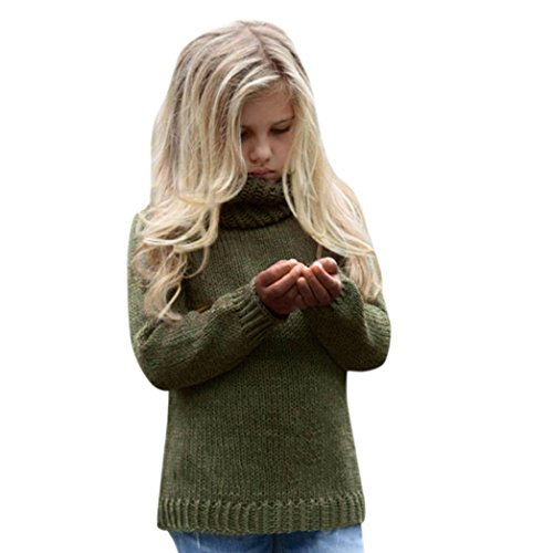 Oksale Fashion Baby Girls Solid High Collar Knitted Sweater Long Sleeve Warmer Pullovers (8T, Army Green)